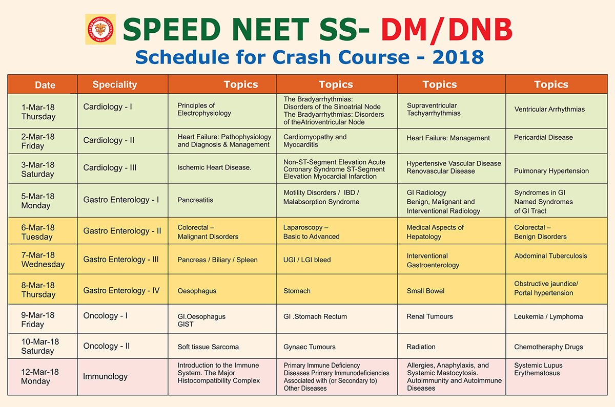 DM Crash Course Schedule